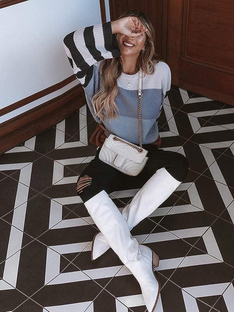 Minetom Donna Maglione Maniche Lunghe Girocollo Maglioni Pullover A Righe Allentato Elegante Maglia Colorate Patchwork Warm Maglieria Casuale Sweatshirt Tops