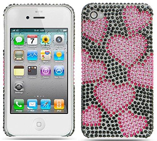Rhinestones Back Cover for iPhone 4, Raining Hearts Black Full (Raining Hearts Rhinestones)