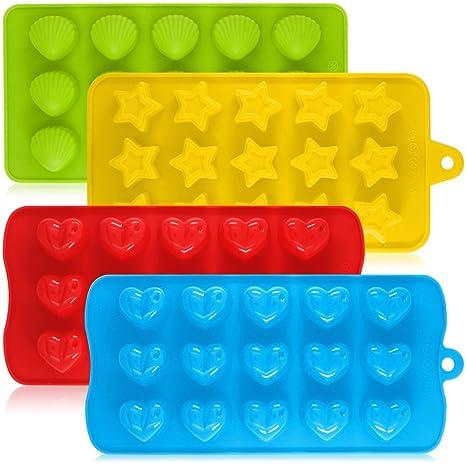AIFUDA - Moldes de silicona para dulces de chocolate, paquete de 4 moldes antiadherentes para