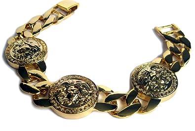 Ketten armband  Medusa Kopf Herren Armband Miami Kubanisches 14 Karat Vergoldetes ...