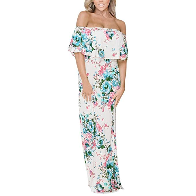 NPRADLA Mujeres Verano Estampado Floral Fuera del Hombro Vestido Maxi Casual Vestido Floral Elegante Moda Fresco Casual Hermoso Cómodo Blanco XL: Amazon.es: ...