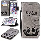 Misteem Cartoon Case iPhone 6 6S, Cute Retro Panda Pattern Leather Cases Flip Shockproof Card Holder Bookstyle/Stand / Magnetic Wallet Cover Protector iPhone 6 6S 4.7 inch - Panda Grey