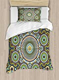 Arabesque Duvet Cover Set by Ambesonne, Ethnic Moroccan Middle Eastern Oriental Traditional Vintage Islamic Mosaic Motif, 2 Piece Bedding Set with 1 Pillow Sham, Twin / Twin XL Size, Multicolor