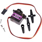 AmoVee 4pcs MG90S Gear Micro Servo for RC Helicopter Plane Boat Car + Horns