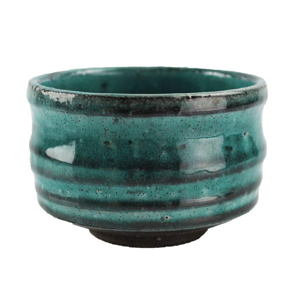 Blue Green Spiral Miyabi Minoyaki Matcha Bowl Made in Japan