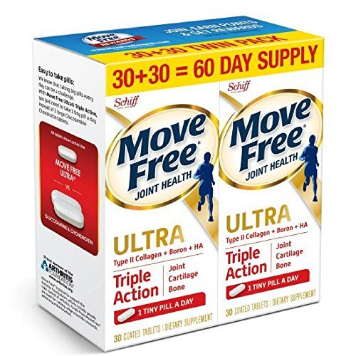 Move Free Ultra Triple Action, 60ct (2x30ct Twin Pack) - Joint Health Supplement with Type II Collagen, Boron and HA (Support Osteo Magnesium)
