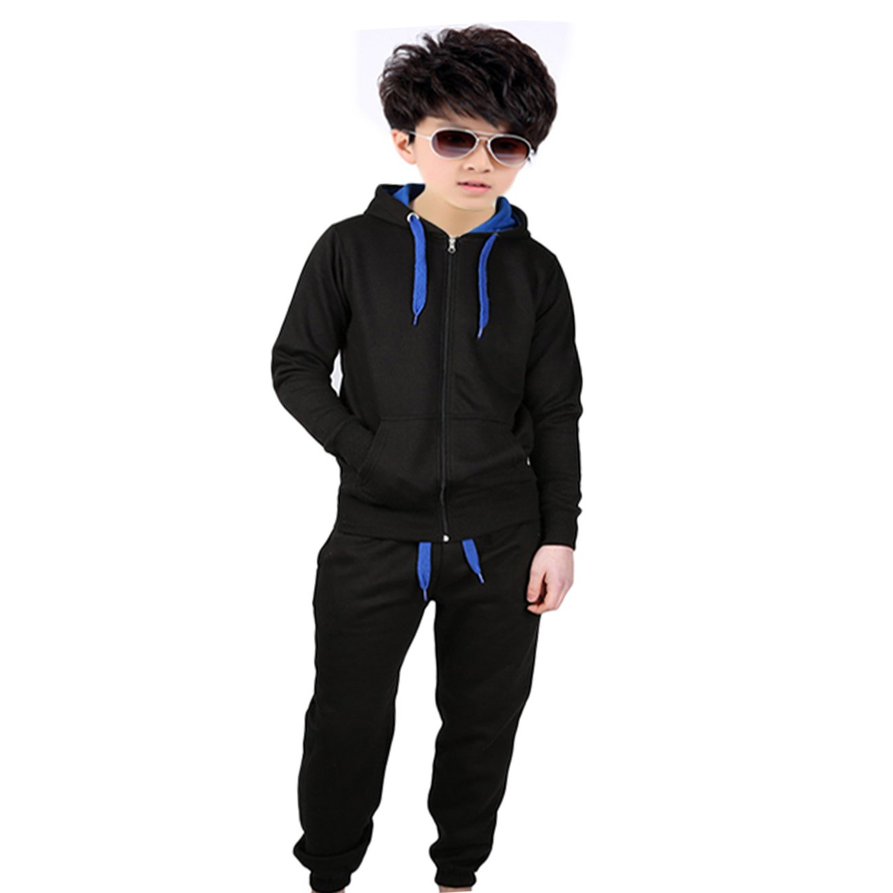 Kids Polyester Tracksuit Front Contrast Set Full Sleeve Zipper Hoodie Fleece Bottoms Top Jogging Jogger Gym School Clothing
