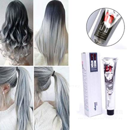 clifcragrocl tinte pelo,100 ml Moda Punk permanente Tinte para el cabello Color gris claro Crema de larga duraci¨®n
