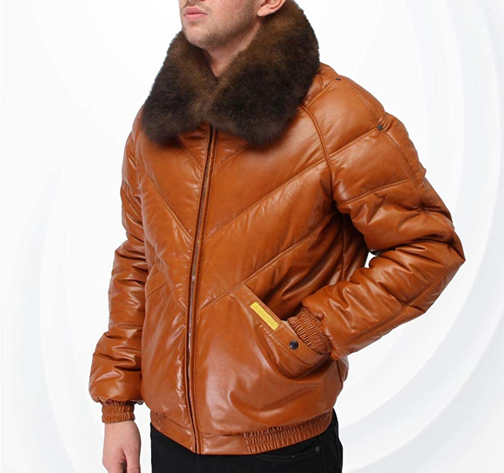 07980f0b663 Mens V Bomber Lambskin Leather Jacket with Fox Fur Collar (M) at ...