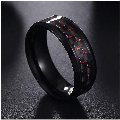 2020 Titanium Steel Black Carbon Fiber Rings For Mens Casual Daily Fashion Wear
