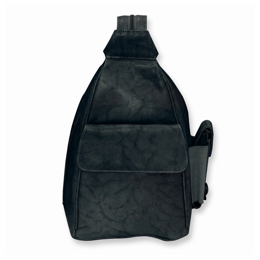 Black Leather Sling Backpack