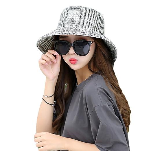 Kaimao Women s Sun Beach Straw Hat UV Protection Foldable Wide Brim Floppy  Hats 56-59cm 6bcf49b8136
