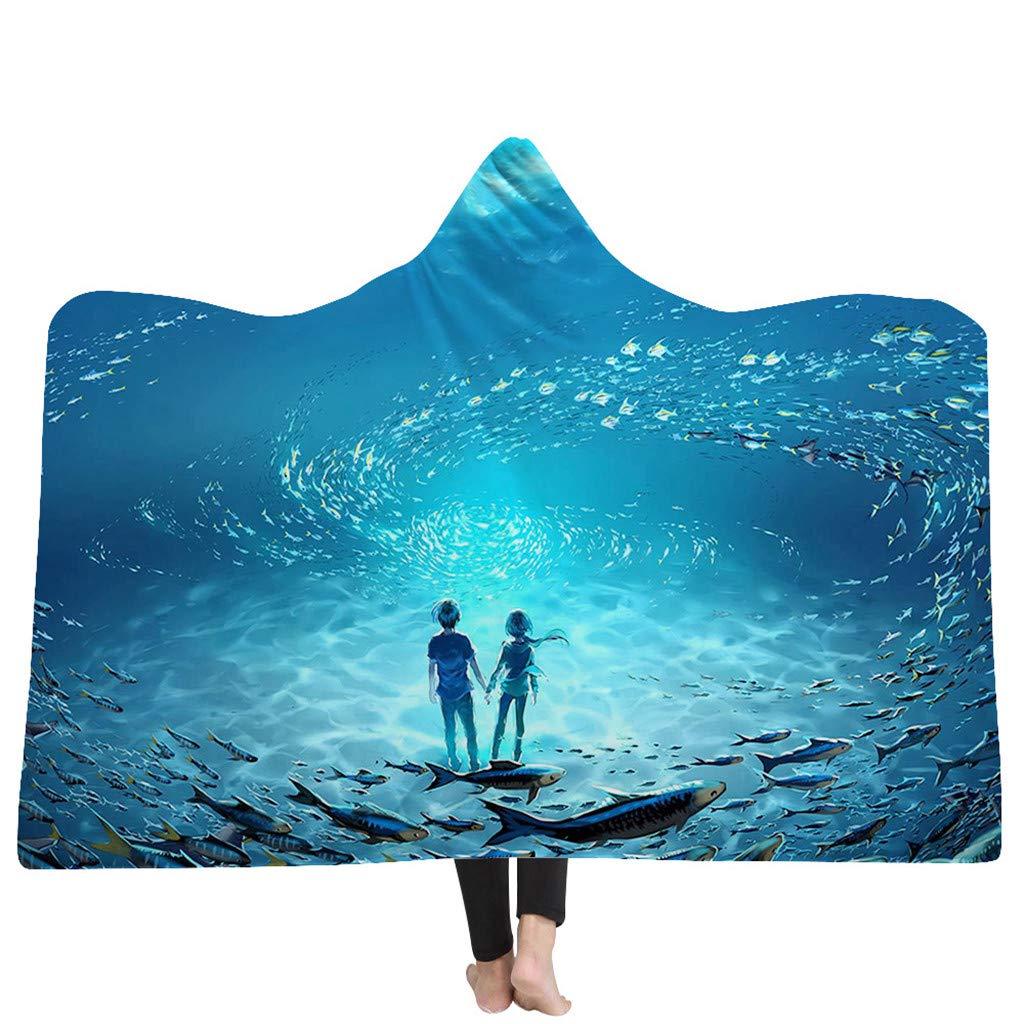 LQFLD 3D Starry Serie Printed Hooded Blanket, Winter Thick Warm Soft Plush Cloak Cape Wearable Throw Plush Blanket für Erwachsene und Kinder,001,150 * 130cm