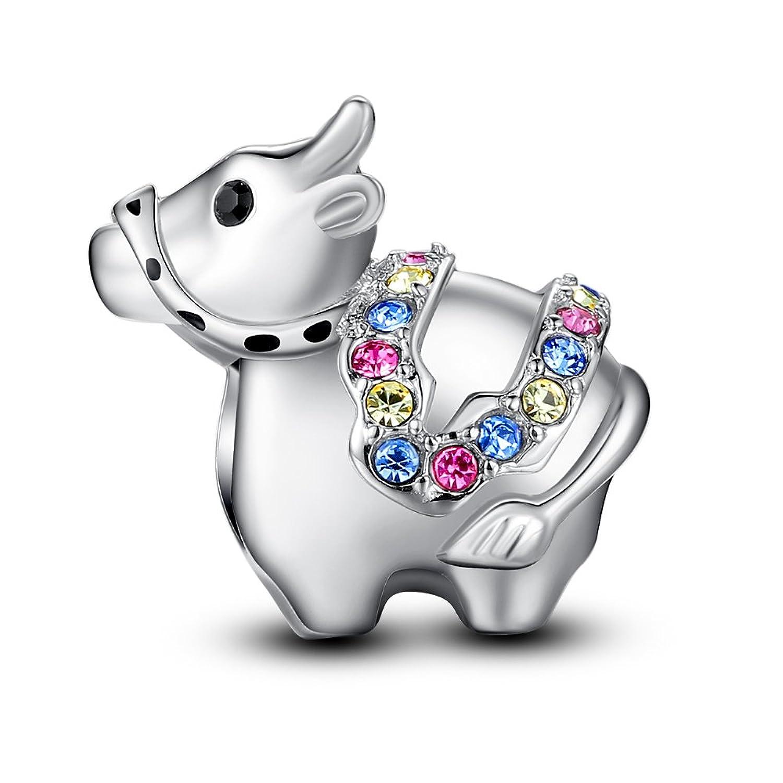 Dije colgante de plata Glamulet® con diseño de los animales del horóscopo