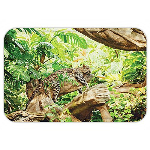 Chair Macro Fabric - Lionkin8 Door Mat Safari Decor Collection Leopard on the Branch in Savanna Exotic Macro Tropical Leaf Jungle Wild Nature Art Photo Brown Green - 24x16 inch