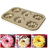 Nonstick Bakeware Mold - 6-cavity Carbon Steel Donut Cookie Mold Cake Muffins Baking Pan Tool- Efficient Heat Transfer and High Temperature Resistance Easy Clean