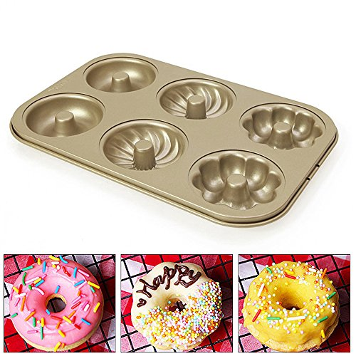 Nonstick Bakeware Mold - 6-cavity Carbon Steel Donut Cookie Mold Cake Muffins Baking Pan Tool- Efficient Heat Transfer and High Temperature Resistance Easy Clean by Carole4