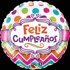 Amazon.com: Qualatex Feliz Cumpleanos Chevron Dots 18