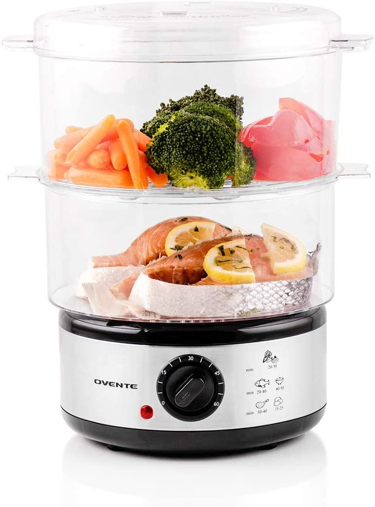 Ovente Electric Food Steamer 5 Quart Double Tier Stackable Portable BPA-Free Basket with 400 Watt Power Stainless Steel Base Steamer 60-Minute Timer Fast Steaming for Vegetable and Fish, Silver FS62S