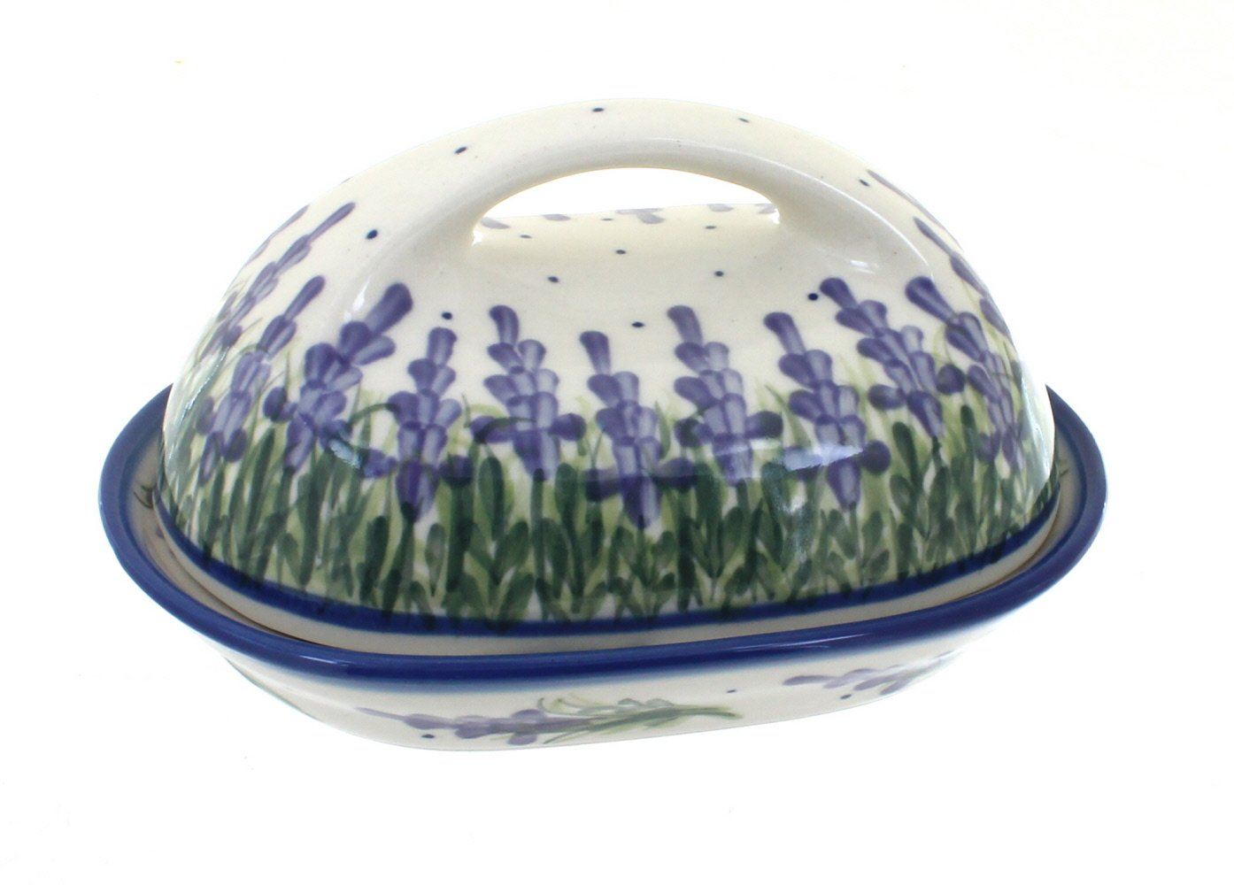 Blue Rose Polish Pottery Lavender Fields Butter Dish