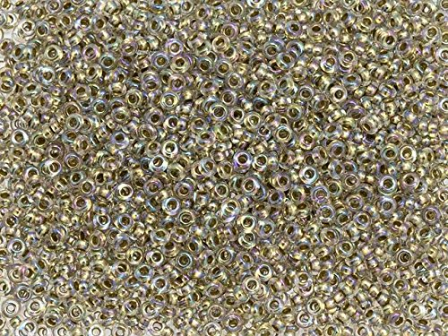 TOHO Demi Round Seed Bead 11/0 Inside-Color Crystal/24K Gold-Lined, 2.5-Inch Tube