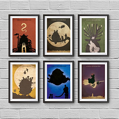 Hayao Miyazaki Minimalist Poster Set My Neighbor Totoro Spirited Away Howl's Moving Castle Princess Mononoke Castle in the Sky Kiki's Delivery Service Print Wall Artwork Home Decor Hanging Cool Gift