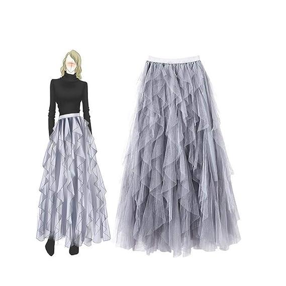 YUETUZHUANGSHI Falda con Volantes asimétrica Mujer Midi Cintura ...