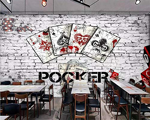 Custom Wallpaper Europe and America Retro Brick Wall Poker Chess and Entertainment bar Chess Room Wall 3D - Chess Poker