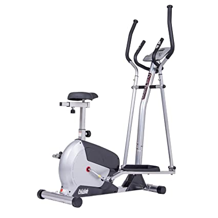 Body Champ 2 In 1 Elliptical Workout And Upright Exercise Bike With Heart  Rate, Computer