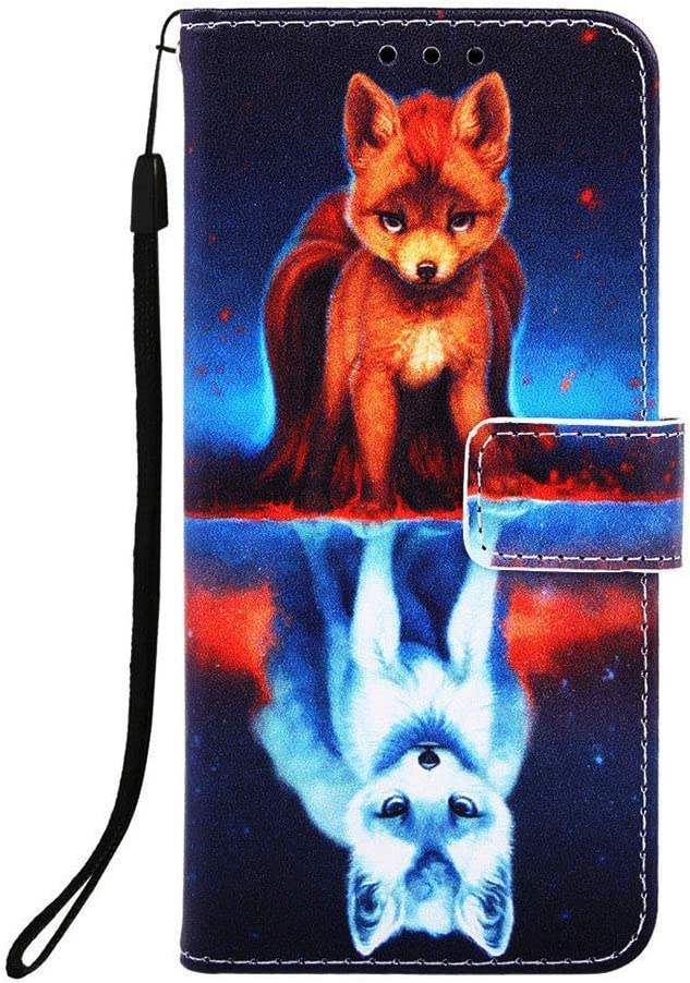 Wiitop LG Aristo 2 / K8 2018 US Version/Aristo 2 Plus / LV3 2018 Phone Case PU Leather Wallet [ Kickstand Wrist Strap ][ Credit Card Slot ] Magnetic Closure Stand Flip Full Body Protective Cover Fox