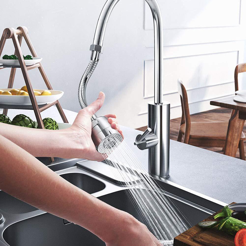 doccia Rubinetto Rotante Booster Cucina spruzzatore a 3 marce filtro ugello e adattatore bagno argento Rubinetto rotante a 360/° regolabile per cucina