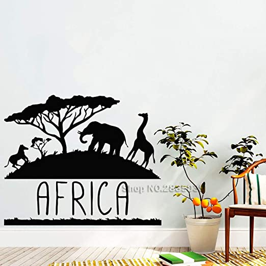 jiushivr Diseño África Pegatinas de Pared Animales Mural Interior ...