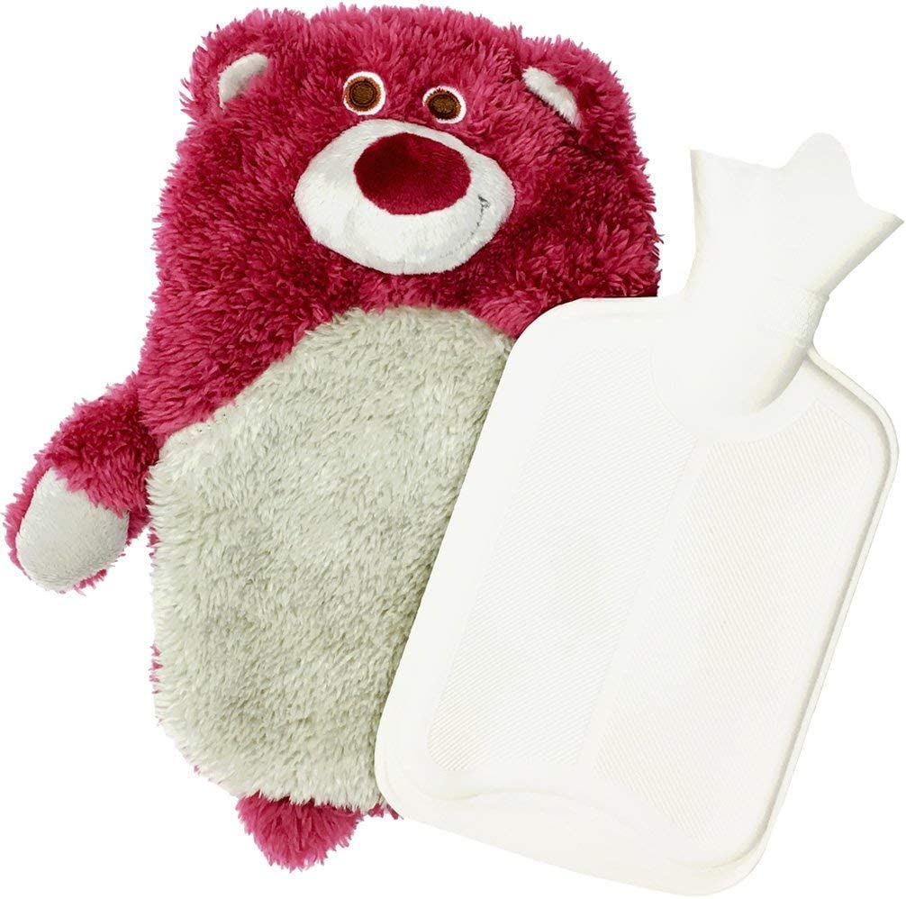 Mose Cafolo Hot Water Bottle ~ Baby Kids Hand Foot Warmer Hot Water Bag with Cute Cartoon Character Pink Strawberry Bear Plush Cover
