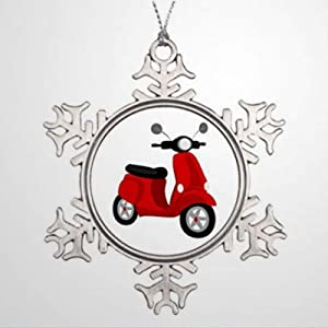 BYRON HOYLE Christmas Ornaments Tree Branch Decoration Red Scooter Christmas in Heaven Snowflak Christmas Snowflake Ornaments Xmas Decor Wedding Ornament Holiday Present
