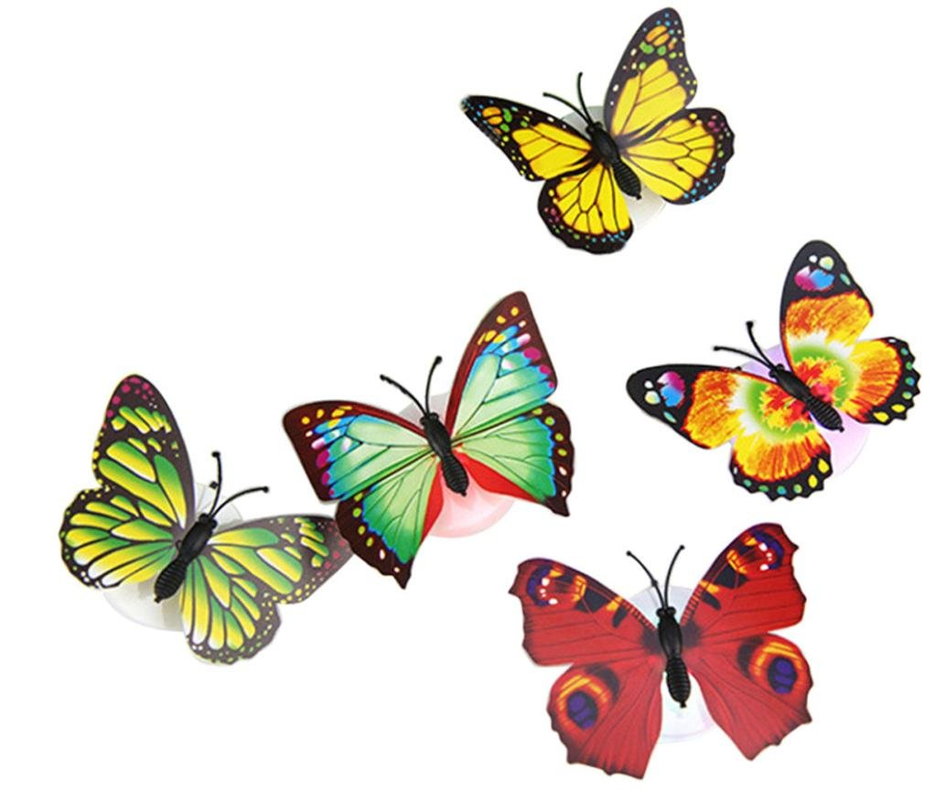 Baby Butterfly Lights, Deloito Flashing Colorful 3D Butterfly Wall Stickers for Girl Bedroom Baby Kids Toy Gift, Creative LED Small Lamp Night Light Stickers Home Decor Room Decoration (15 x Night Light Lamp with suction pad, Multicolor) Deloito--Home Dec