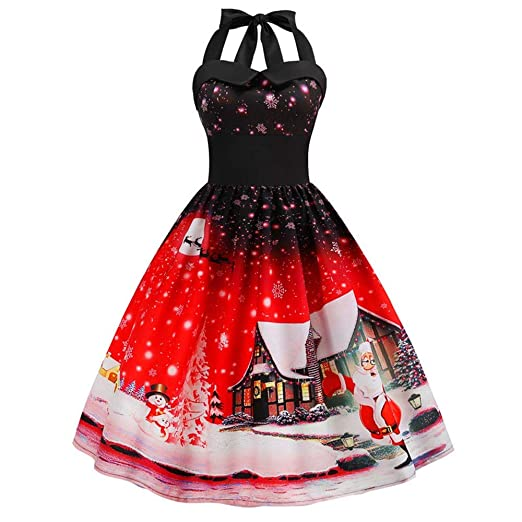 Christmas Series Dress-Women Vintage Halter Sleeveless Evening Party Prom Swing Dress at Amazon Womens Clothing store: