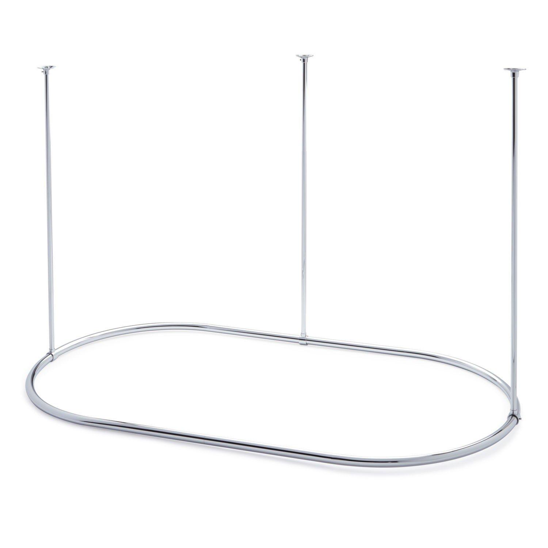 Naiture 60'' L X 30'' W Brass Oval Shower Curtain Rod Chrome Finish