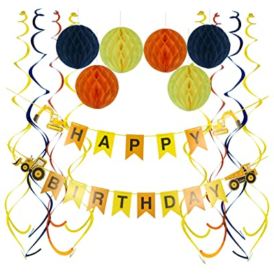 Construction Birthday Party Supplies, Dump Truck Happy Birthday Banner Sparkling Hanging Swirls 6 Pcs Honeycomb Balls for Kids Birthday Party Decoration Construction Theme Party Favors: Toys & Games