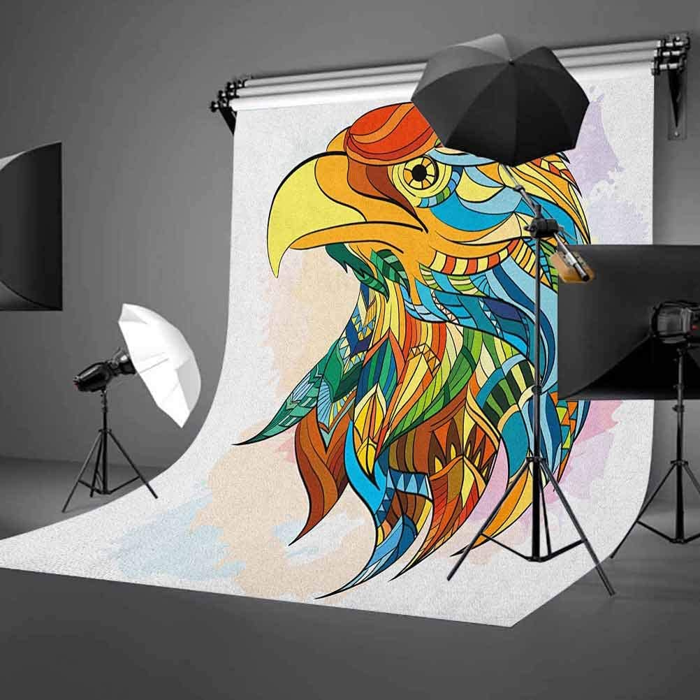7x10 FT Eagle Vinyl Photography Background Backdrops,Inspired Bald Eagle Pattern with Oriental Color Scheme Flying Animal Design Background Newborn Baby Portrait Photo Studio Photobooth Props