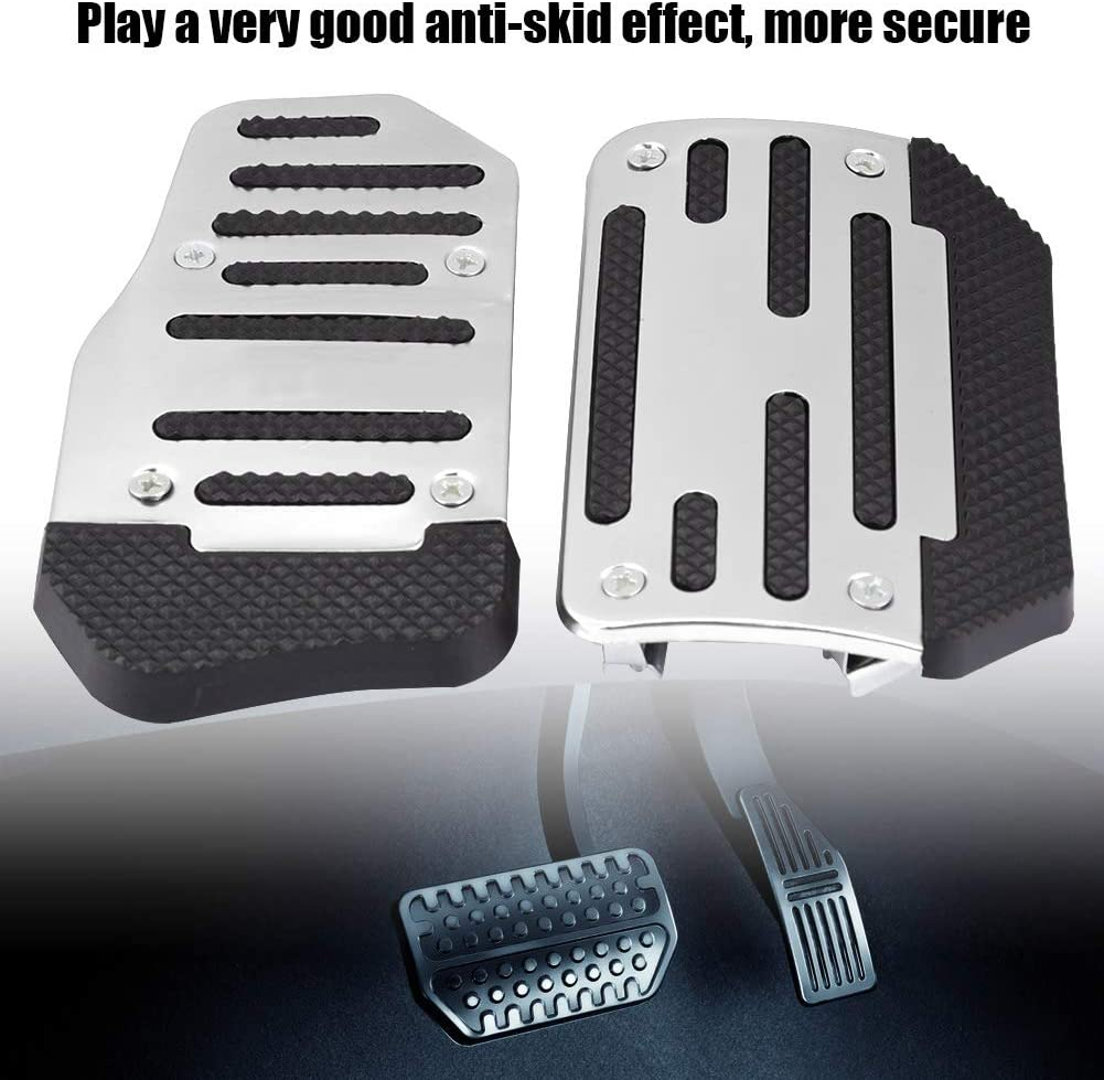Aluminum Alloy Non-slip Pads for Auto Brake Pedal /& Accelerator Pedal Silver Fit AT Automatic Transmission Vehicle Modification KIMISS Universal Car Brake Pedal /& Gas Pedal Covers