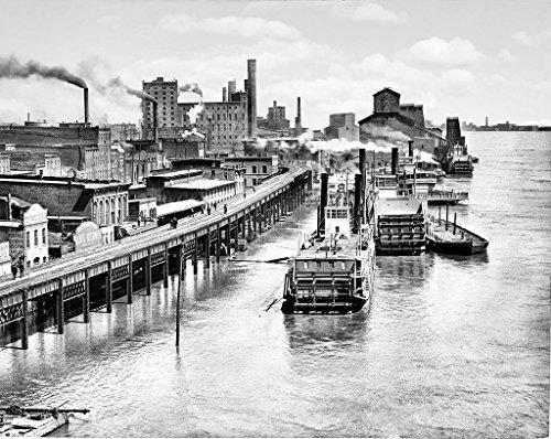 St. Louis Historic Black & White Photo, High Water at the Eads Bridge, c1892