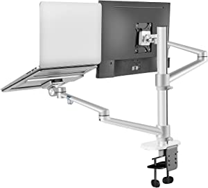 [Updated Version] Monitor and Laptop Mount, 2-in-1 Adjustable Dual Arm Desk Mounts,Single Desk Arm Stand/Holder for 17 to 32 Inch Monitor, Laptop Tray for 12 to 17 inch Laptops