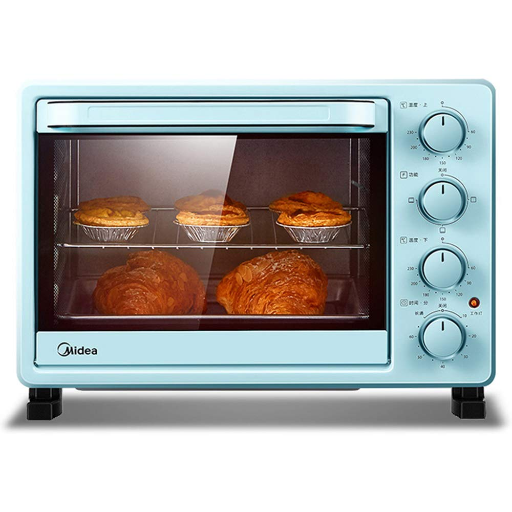 Modern Mini Oven| Toast Oven with Convection|Electric Oven | blue Small Oven | Independent temperature control | 25L|4 Drawers|Removable Crumb Tray |Timer Setting|Circulating Air Function|1400W
