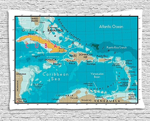 Wanderlust Collection Cuba Map And Caribbean Sea Ocean Geography Political Division Land Borders Sofa Supersoft Throw Fleece Blanket Supersoft Throw Fleece Blanket 59.05