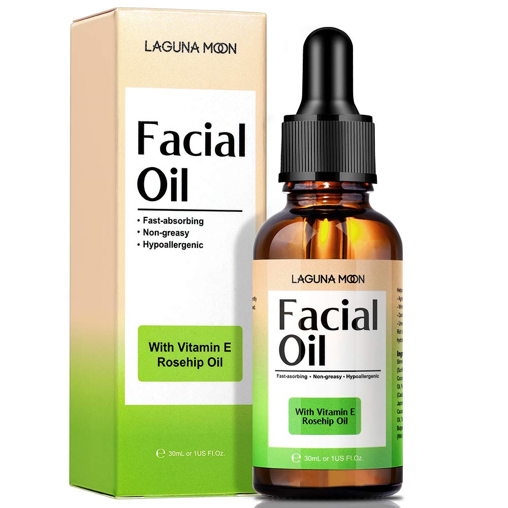 Lagunamoon Facial Oil for women Anti-Aging & Moisturizing, Natural Face Oil with Rosehip Oil & Jojoba Oil Blends, Vitamins and Cocoa Butter for Dry Sensitive Skin, Vegan, 30ml/1 oz