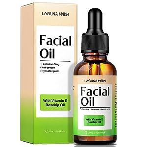 Lagunamoon Facial Oil for women Anti-Aging & Moisturizing, Natural Face Oil with Rosehip Oil & Jojoba Oil Blends, Vitamins and Cocoa Butter for Dry Sensitive Skin, Vegan, 30ml/1 oz