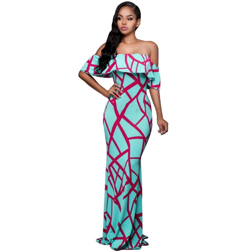 Usstore Women Dress Ladies Summer Vintage Off Shoulder Boho Long Maxi Sundress Dresses (XL, Blue)