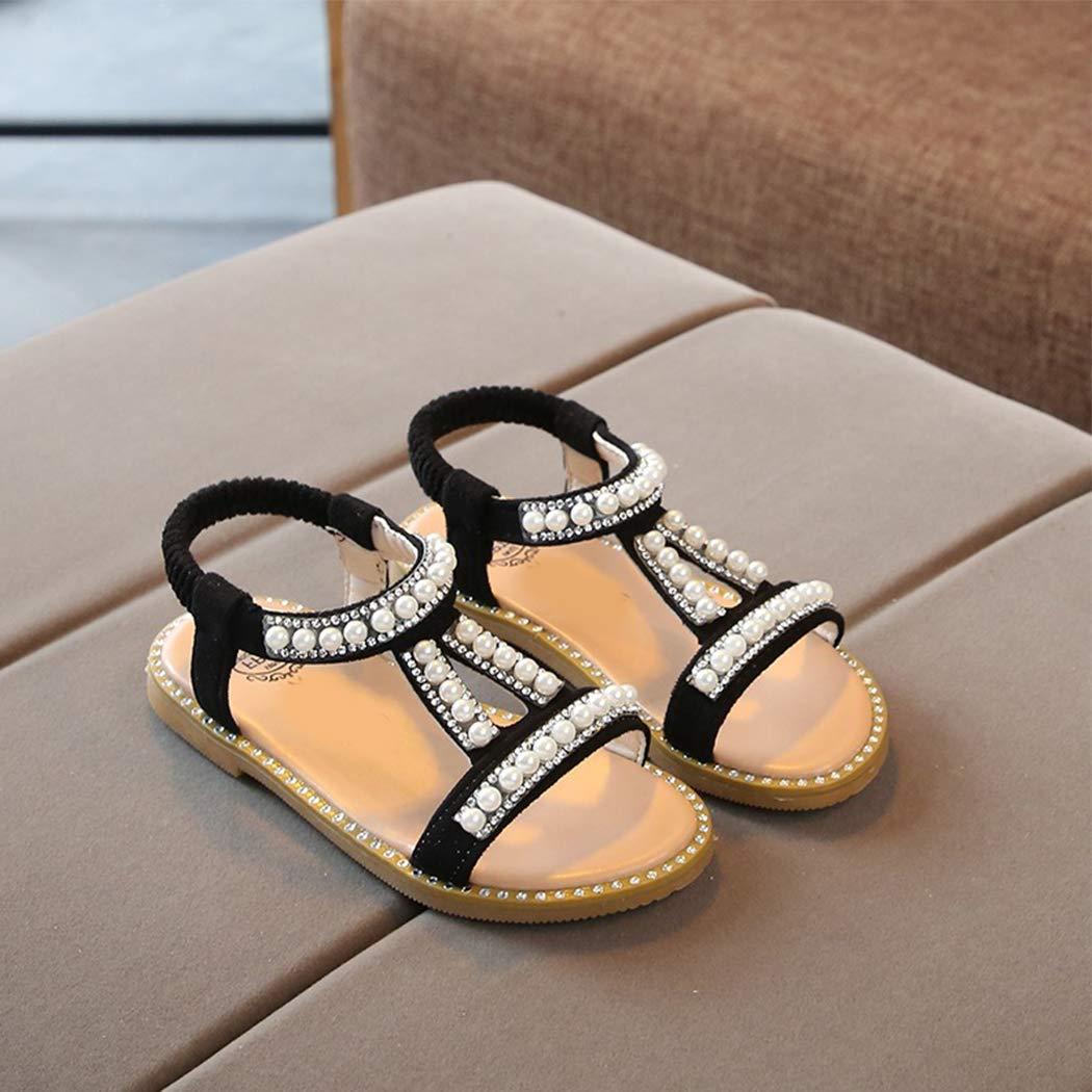 bbpawing Girls Princess Sandals Pearl Crystal Flat Shoes Summer Peep Toe Casual Sandals