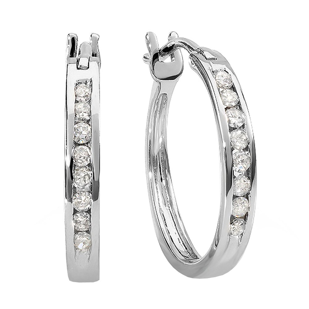 0.18 Carat (ctw) 10K White Gold Round White Diamond Ladies Fine Hoop Earrings