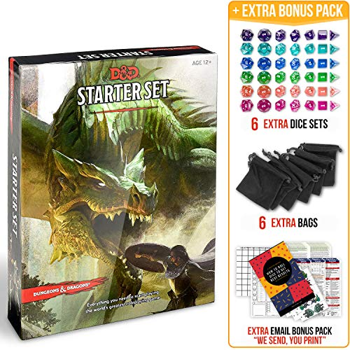 Dungeons and Dragons 5th Edition Starter Set with DND Dice and Complete Printable Starter Kit - Popular DND Rolling Board Game Fifth Edition - D&D 5e Beginner Gift Set - Adult Magic Pack (Dungeons Dragons Beginner)